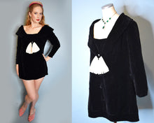 Load image into Gallery viewer, 1960s Vintage Velvet Black and White Mod Mini Dress, Medium