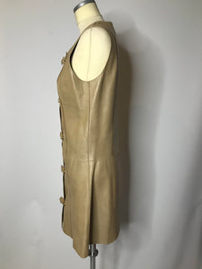 Vintage 1960s Mod Leather Mini Dress with Gold Buckles, MEDIUM