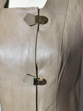 Load image into Gallery viewer, Vintage 1960s Mod Leather Mini Dress with Gold Buckles, MEDIUM