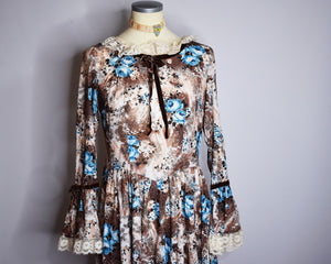 70s Vintage Handmade Prairie Dress With Blue Roses, Lace Sleeves/Collar, Velvet Bow Accents