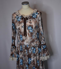 Load image into Gallery viewer, 70s Vintage Handmade Prairie Dress With Blue Roses, Lace Sleeves/Collar, Velvet Bow Accents-Quinby Vintage