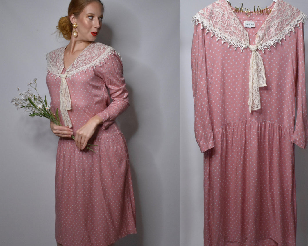 Lovely Patty O'Neil 80s Does 20s Pink Dress Flapper Dress With Floral Print-Quinby Vintage