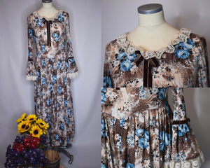 70s Vintage Handmade Prairie Dress With Blue Roses, Lace Sleeves/Collar, Velvet Bow Accents-Quinby Vintage