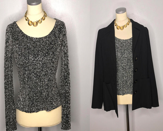 Elegant and Formal Naeem Khan Beaded and Sequined Blouse-Quinby Vintage