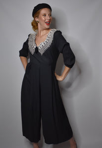 1980s Vintage Black Palazzo Pants Jumpsuit, Jeffrey and Dara by Linda Hutley-Quinby Vintage