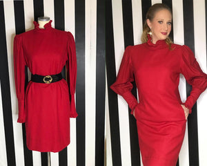 Vintage 80s Red Dress By Emmanuel Ungaro With High Ruffled Neck and Sleeves-Quinby Vintage