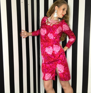 Pink 1980s Floral Print David Hayes for Neiman Marcus Vintage Silk Dress-Quinby Vintage