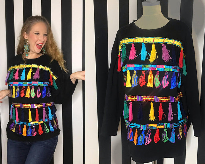 Funky 80s Sweatshirt/Long Sleeve Tee With Multicolored Tassel and Sequin Accents-Quinby Vintage