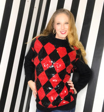 Load image into Gallery viewer, Harlequin Sequin 80s Vintage Sweater, Red and Black Diamond Print-Quinby Vintage