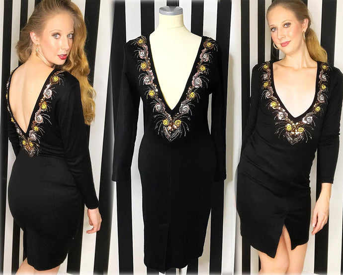 80s Vintage Sexy Reversible Beaded Wool Cocktail Dress-Quinby Vintage