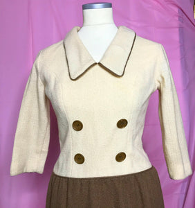 60s Brown and White Vintage Wool Dress by Parfait Originals-Quinby Vintage
