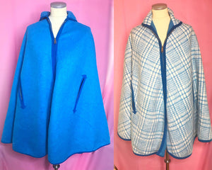 REVERSIBLE Vintage Bright Blue and Plaid Wool Cape/Cape Coat-Quinby Vintage
