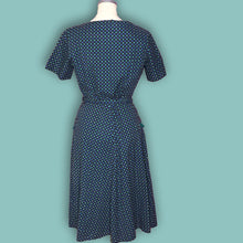 Load image into Gallery viewer, Blue and Green Vintage Novelty Print 1940s Day Dress with Belt-Quinby Vintage
