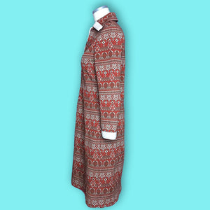 70s Vintage Boho Red and White Persian Rug Style Dress, Patti Smith Style-Quinby Vintage