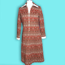 Load image into Gallery viewer, 70s Vintage Boho Red and White Persian Rug Style Dress, Patti Smith Style-Quinby Vintage