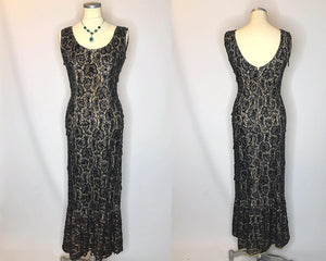 Simply Spectacular Vintage 1950s Evening Gown, Hand Beaded and Sequin Black Lace-Quinby Vintage