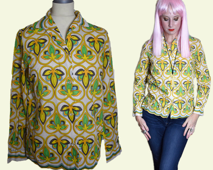 Vintage 1970s Psychedelic Mr. Dino Blouse-Quinby Vintage