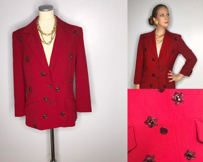 Vintage Red Alberta Ferretti Blazer with Beaded Star Accents-Quinby Vintage