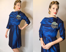 Load image into Gallery viewer, Femme Fatale Vintage 1950s Party Dress with Blue Square Novelty Print-Quinby Vintage