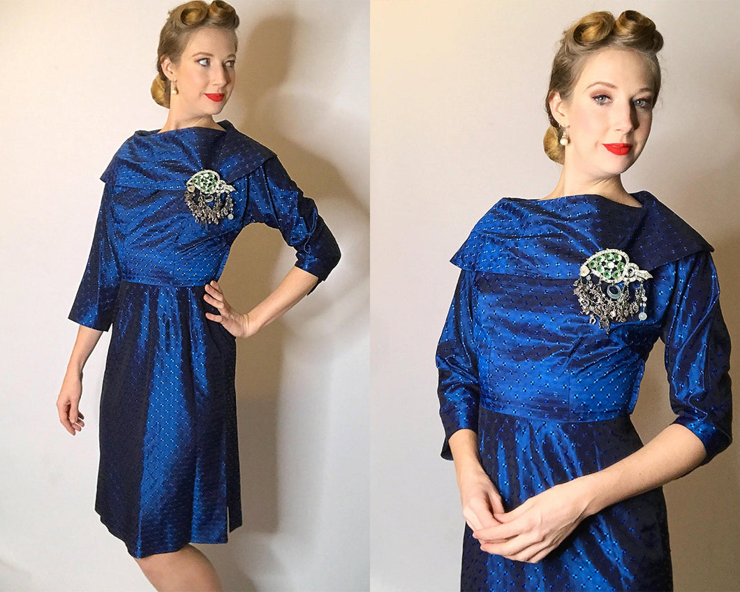 Femme Fatale Vintage 1950s Party Dress with Blue Square Novelty Print-Quinby Vintage