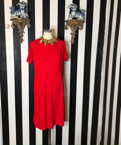 Vintage 1960s Mod Red Dress by Eve Carver Originals-Quinby Vintage