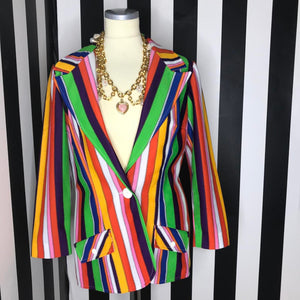 Women's Rainbow 90s Vintage Blazer by Koret of California, Great Pride Outfit-Quinby Vintage