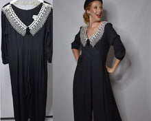 Load image into Gallery viewer, 1980s Vintage Black Palazzo Pants Jumpsuit, Jeffrey and Dara by Linda Hutley-Quinby Vintage