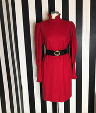 Load image into Gallery viewer, Vintage 80s Red Dress By Emmanuel Ungaro With High Ruffled Neck and Sleeves-Quinby Vintage