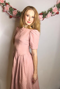 Vintage Pink 1980s Puffy Sleeve Dress, Laura Ashley/Gunne Sax Style-Quinby Vintage