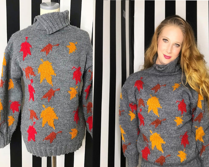 Vintage Unisex 80s Sweater With Leaf Novelty Print-Quinby Vintage