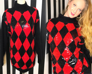 Harlequin Sequin 80s Vintage Sweater, Red and Black Diamond Print-Quinby Vintage