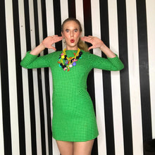 Load image into Gallery viewer, Vintage 1960s Green Mod Houndstooth Minidress-Quinby Vintage
