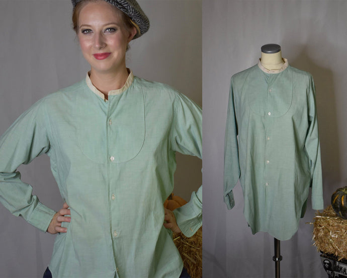 Vintage Early 1900s Edwardian Men's Band Collar Green Workshirt-Quinby Vintage