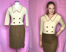 Load image into Gallery viewer, 60s Brown and White Vintage Wool Dress by Parfait Originals-Quinby Vintage