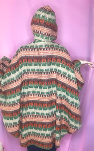 Unisex Vintage 60s Hooded Hippie/Boho Poncho-Quinby Vintage