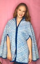 Load image into Gallery viewer, REVERSIBLE Vintage Bright Blue and Plaid Wool Cape/Cape Coat-Quinby Vintage
