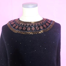 Load image into Gallery viewer, Vintage Bonnie Boerer 80s Sweater With Gold and Copper Beaded Embellishments-Quinby Vintage