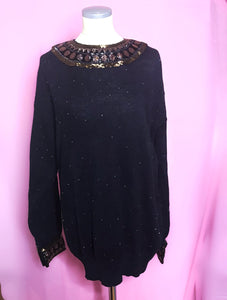 Vintage Bonnie Boerer 80s Sweater With Gold and Copper Beaded Embellishments-Quinby Vintage