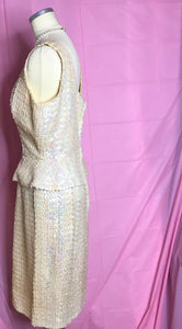 1950s Vintage White Sequined Wiggle Dress, Wedding Dress, or Engagement Dress-Quinby Vintage