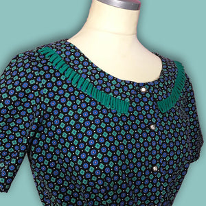 Blue and Green Vintage Novelty Print 1940s Day Dress with Belt-Quinby Vintage