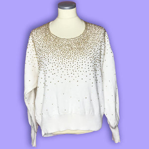 Vintage 80s Bonnie Boerer White and Gold Beaded Sweater-Quinby Vintage