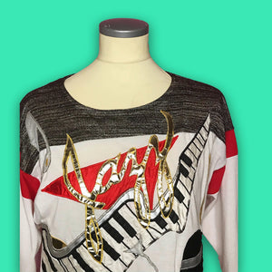 "ICONIC Vintage 1980s Bonnie Boerer ""Jazz"" Novelty Shirt-Quinby Vintage"
