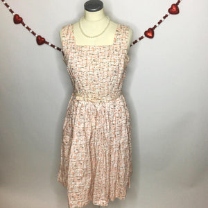 Fabulous 50s Novelty Print Vintage Day Dress With Original Belt-Quinby Vintage