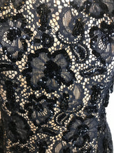 Load image into Gallery viewer, Simply Spectacular Vintage 1950s Evening Gown, Hand Beaded and Sequin Black Lace-Quinby Vintage