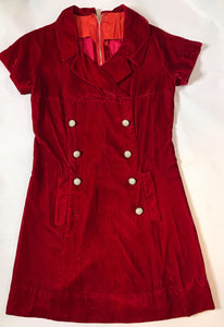 1960s Mod Vintage Red Velvet Dress with Rhinestone Buttons, 30s Style-Quinby Vintage