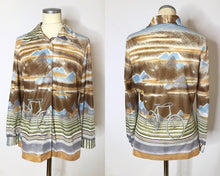 Load image into Gallery viewer, Vintage 1970s Disco Shirt With Bicycle Novelty Print and Dagger Collar-Quinby Vintage