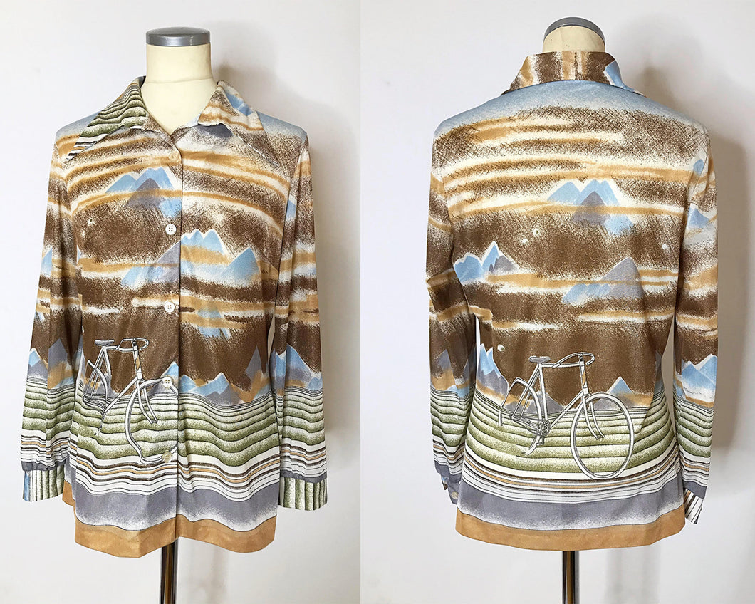 Vintage 1970s Disco Shirt With Bicycle Novelty Print and Dagger Collar-Quinby Vintage