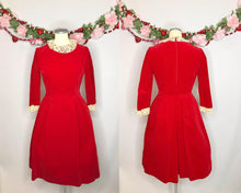 Load image into Gallery viewer, Vintage 1950s Red Velvet Dress with Lace Collar and Sleeves-Quinby Vintage