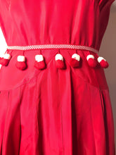 Load image into Gallery viewer, Vintage 1950s Red and White Pom Pom Dress-Quinby Vintage