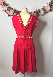 Vintage 1950s Red and White Pom Pom Dress-Quinby Vintage